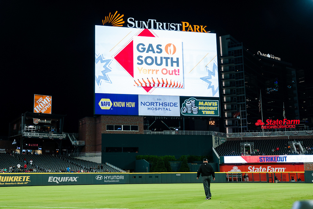 Gas South sign during Braves v. Reds exhibition game on Monday, March 25, 2018 at SunTrust Park. The Braves won 8-5. Photo by Kevin D. Liles/Atlanta Braves
