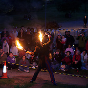 Before the lighting of the beacon two performers showed of their fire juggling skills. One of 4000 beacons lit across the word was lit in Tower Hamlets, London by Mayor Rahman. Tower Hamlet is one of the UK's poorest councils and also home to the financial district Canary Wharf on the Isle of Dogs.  Celebrations in London, UK for Queen Elizabeth II Diamond Jubilee. 60 years as monarch in Britain. Celebrations in London, UK for Queen Elizabeth II Diamond Jubilee.