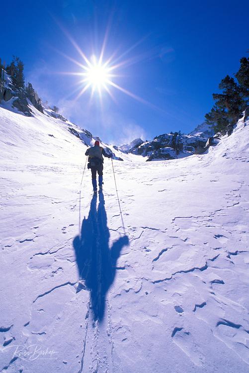 Backcountry skier crossing wind blown snow near Treasure Lakes, John Muir Wilderness, California USA