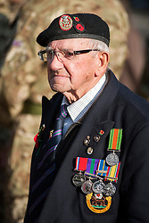 A veteran Stands on parade outside Barnsley Town Hall as  Barnsley Marks the Centenary of the out break of World War I on Remembrance Sunday <br /> <br /> 09 November 2014<br /> <br /> Image © Paul David Drabble <br /> <br /> www.pauldaviddrabble.co.uk