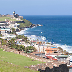 The view towards El Morro from atop Fort San Cristobal in San Juan, Puerto Rico.