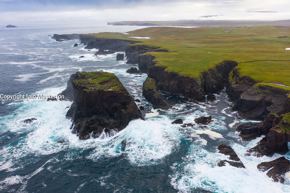 Dramatic cliffs and Moo Stack on coast at Eshaness at Northmavine , north mainland of Shetland Islands, Scotland, UK