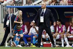coach Stanislav Cherchesov of Russia during the 2018 FIFA World Cup Russia round of 16 match between Spain and Russia at the Luzhniki Stadium on July 01, 2018 in Moscow, Russia