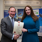 24.05.2018.       <br /> The Limerick Institute of Technology with Atlantic Air Adventures and funding from the Aviation Skillnet presented over forty certificates to Aviation professionals who have completed the Certificate in Aviation, The Aircraft Records Technician Level 7 and Part 21 Design, Level 7.<br /> <br /> Pictured at the event was Jim Gavin, The Irish Aviation Authority and Manager of the Dublin Football Team who presented, Caroline Moore with their cert.<br /> <br /> LIT in partnership with Atlantic Air Adventures, CAE Parc Aviation, Part 21 Design and industry experts such as Anton Tams, GECAS, Don Salmon, CAE Parc Aviation and Mick Malone, Part 21 Design have developed and deliver these key training programmes with funding for aviation companies provided by The Aviation Skillnet.<br /> <br /> . Picture: Alan Place