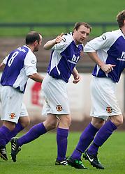 Annan Athletic's Scott Gibson celebrates after scoring their goal..Berwick Rangers 0 v 1 Annan Athletic, 1/10/2011..Pic © Michael Schofield.