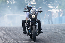 Unknown Industries Stunt Team performing in the Harley-Davidson display area of Sturgis during the annual Sturgis Black Hills Motorcycle Rally.  SD, USA.  August 12, 2016.  Photography ©2016 Michael Lichter.