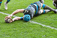 Rugby Union - 2020 / 2021 European Rugby Challenge Cup - Round of 16 - Ospreys vs Newcastle Falcons - Liberty Stadium<br /> <br />  Justin Tipuric © Ospreys scores a try <br /> <br /> COLORSPORT/WINSTON BYNORTH