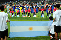 Players of Argentina pose before a friendly football match against Hong Kong in Hong Kong, China, 14 October 2014.<br /> <br /> Lionel Messi needed just six minutes to make his mark in Argentina's 7-0 rout of Hong Kong in a friendly at Hong Kong Stadium on Tuesday (14 October 2014). The Barcelona star Messi scored twice after going on as a substitute for the last 30 minutes of the game to celebrate the 100th anniversary of the Hong Kong Football Association. Napoli striker Gonzalo Higuain and Benfica's Nicolas Gaitan also scored two goals each after Sevilla's Ever Banega had opened scoring in the 19th minute.