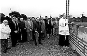 Bishop Diarmuid O'Suilleabhain lays the foundation stone and blesses the ground at The Church of The Resurection in Killarney in 1994.<br /> Now & Then - MacMONAGLE photo archives.<br /> Picture by Don MacMonagle -macmonagle.com<br /> Facebook - @killarneynowandthen