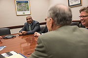 """WASHINGTON, DC - MAY 24: National Association of Music Merchants member Bernie Williams speaks with Sen. Charles Grassley (D-IA) during """"NAMM, VH1 And CMA Day Of Music Education Advocacy Capitol Hill"""" in the Rayburn House Office Building on May 24, 2017 in Washington, DC. (Photo by Kris Connor/Getty Images for NAMM) *** Local Caption ***  Bernie Williams; Charles Grassley"""