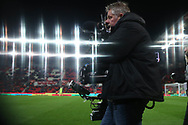 a Sky tv steady cam cameraman in action. Premier league match, Stoke City v Manchester City at the Bet365 Stadium in Stoke on Trent, Staffs on Monday 12th March 2018.<br /> pic by Andrew Orchard, Andrew Orchard sports photography.