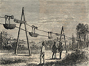 Trial electric telpherage line erected at Weston, near Hitchin, Hertfordshire, England, 1884.