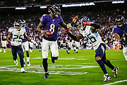The Baltimore Ravens are defeated by the Tennessee Titans in the AFC Divisional Playoff Game on January 11, 2020 at M&T Bank Stadium, 28-12.