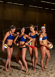 06-07-2018 NED: EC Beach teams Netherlands, The Hague<br /> (L-R) Sanne Keizer NED, Madelein Meppelink NED, Joy Stubbe, Marleen van Iersel