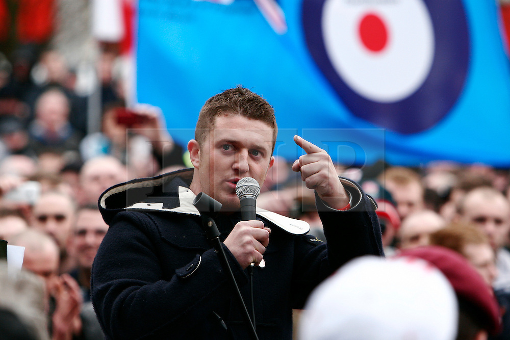 © under license to London News Pictures. 05/02/2011. Stephen Lennon (aka Tommy Robinson), the leader of the English Defence League, addresses a crowd. Thousands of English Defence League members and supporters march through Luton Town Centre to demonstrate against Sharia Law. 2000 police are in the town to keep the peace. Craig Shepheard/London News Pictures