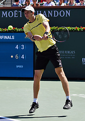 March 15, 2019 - Indian Wells, CA, U.S. - INDIAN WELLS, CA - MARCH 15: Hubert Hurkacz (POL) returns the ball in the second set of a quarterfinals match played during the BNP Paribas Open on March 15, 2019 at the Indian Wells Tennis Garden in Indian Wells, CA. (Photo by John Cordes/Icon Sportswire) (Credit Image: © John Cordes/Icon SMI via ZUMA Press)