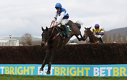 Aso ridden by Charlie Deutsch on their way to victory in the Download The Betbright App Handicap Chase during the New Year Meeting at Cheltenham Racecourse.