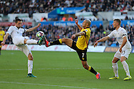Nordin Amrabat of Watford © challenges Gylfi Sigurdsson of Swansea city (l).  Premier league match, Swansea city v Watford at the Liberty Stadium in Swansea, South Wales on Saturday 22nd October 2016.<br /> pic by  Andrew Orchard, Andrew Orchard sports photography.