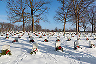 65095-03015 Wreaths on graves in winter Jefferson Barracks National Cemetery St. Louis,  MO