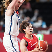 TOKYO, JAPAN August 8:   Rui Machida #13 of Japan defended by Breanna Stewart #10 of the United States  during the Japan V USA basketball final for women at the Saitama Super Arena during the Tokyo 2020 Summer Olympic Games on August 8, 2021 in Tokyo, Japan. (Photo by Tim Clayton/Corbis via Getty Images)