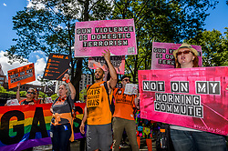 June 3, 2017 - New York, New York, United States - On June 3, 2017; in honor of National Gun Violence Awareness Day, Moms Demand Action for Gun Sense in America, a part of Everytown for Gun Safety and the Wear Orange coalition, hosted the Fifth Annual Brooklyn Bridge March for Gun Sense. Hundreds of volunteers and gun violence survivors marched across the bridge, culminating in a rally at Foley Square led by the New York chapter of Moms Demand Action and featuring. (Credit Image: © Erik Mcgregor/Pacific Press via ZUMA Wire)