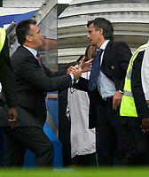 Photo: Daniel Hambury.<br />Chelsea v Aston VIlla. The Barclays Premiership.<br />24/09/2005.<br />Chelsea's Jose Mourinho and Villa's David O'Leary shake hands at the end of the game.