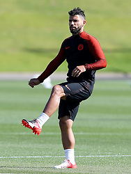 Sergio Aguero of Manchester City warms up - Mandatory by-line: Matt McNulty/JMP - 23/08/2016 - FOOTBALL - Manchester City - Training session ahead of Champions League qualifier against Steaua Bucharest