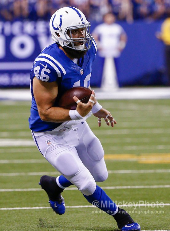INDIANAPOLIS, IN - SEPTEMBER 3: Sean McGrath #46 of the Indianapolis Colts runs the ball during the game against the Cincinnati Bengals at Lucas Oil Stadium on September 3, 2015 in Indianapolis, Indiana. (Photo by Michael Hickey/Getty Images) *** Local Caption *** Sean McGrath