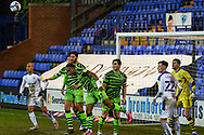 Forest Green's defender Udoka Godwin-Malife clears the ball during the EFL Sky Bet League 2 match between Tranmere Rovers and Forest Green Rovers at Prenton Park, Birkenhead, England on 19 January 2021.