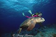 scuba diver and loggerhead sea turtle, Caretta caretta, off Grand Bahama Island, Bahamas ( Western Atlantic Ocean ) MR 228