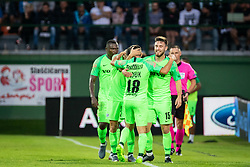 Players of Maccabi celebrating their second goal during Football match between NS Mura (SLO) and Maccabi Haifa (IZR) in First qualifying round of UEFA Europa League 2019/20, on July 18, 2019, in Stadium Fazanerija, Murska Sobota, Slovenia. Photo by Blaž Weindorfer / Sportida