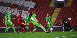 14.09.2011, Anfield, Liverpool, ENG, NextGen Series, Liverpool FC vs VfL Wolfsburg, im Bild Liverpool's Krisztian Adorjan scores the equalising goal against in action against VfL Wolfsburg, or Marvin Kleihs score an own-goal, during the NextGen Series Group 2 match at Anfield. . EXPA Pictures © 2011, PhotoCredit: EXPA/ Propaganda Photo/ David Rawcliff +++++ ATTENTION - OUT OF ENGLAND/GBR+++++