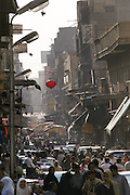 Crowded street in Islamic section of Cairo, Egypt.