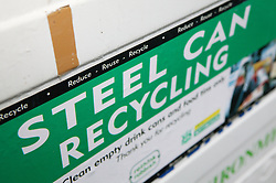 Steel can recycling at the Tipsmart centre at Calverton,
