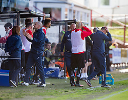 Dunfermline's manager Allan Johnston and bench after another miss. Dunfermline 1 v 3 Dundee United, Scottish Championship game played 10/9/2016 at East End Park.