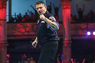 Gary Anderson wins the match during the BetVictor World Matchplay Darts 2018 semi final at Winter Gardens, Blackpool, United Kingdom on 28 July 2018. Picture by Shane Healey.