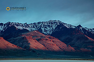 Steens Mountain in morning glow at the Alvord Desert in Harney County, Oregon, USA