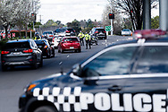 MELBOURNE, VIC - SEPTEMBER 20: Victoria Police officers are seen diverting traffic away from the car park as they set up road blocks during the Freedom protest on September 20, 2020 in Melbourne, Australia. Freedom protests are being held in Melbourne every Saturday and Sunday in response to the governments COVID-19 restrictions and continuing removal of liberties despite new cases being on the decline. Victoria recorded a further 14 new cases overnight along with 5 deaths. (Photo by Mikko Robles/Speed Media)