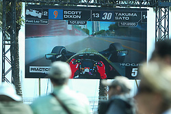 March 9, 2019 - St. Petersburg, Florida, U.S. - DIRK SHADD       Times  .Fans watch the monitor as they go behind the wheel with IndyCar driver Scott Dixon while watching from the observation deck outside of the Mahaffey Theater during an IndyCar practice session at the Grand Prix of St. Petersburg in St. Petersburg on Saturday, March 9, 2019. (Credit Image: © Dirk Shadd/Tampa Bay Times via ZUMA Wire)