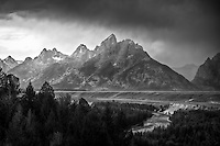 The Snake River Overlook in Grand Teton National Park as a late Summer rainstorm passes by.