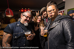 Ela Dutch, Winston Yeh and Alberto Castagendi at a Mr Martini party during Motor Bike Expo. Verona, Italy. Friday January 19, 2018. Photography ©2018 Michael Lichter.