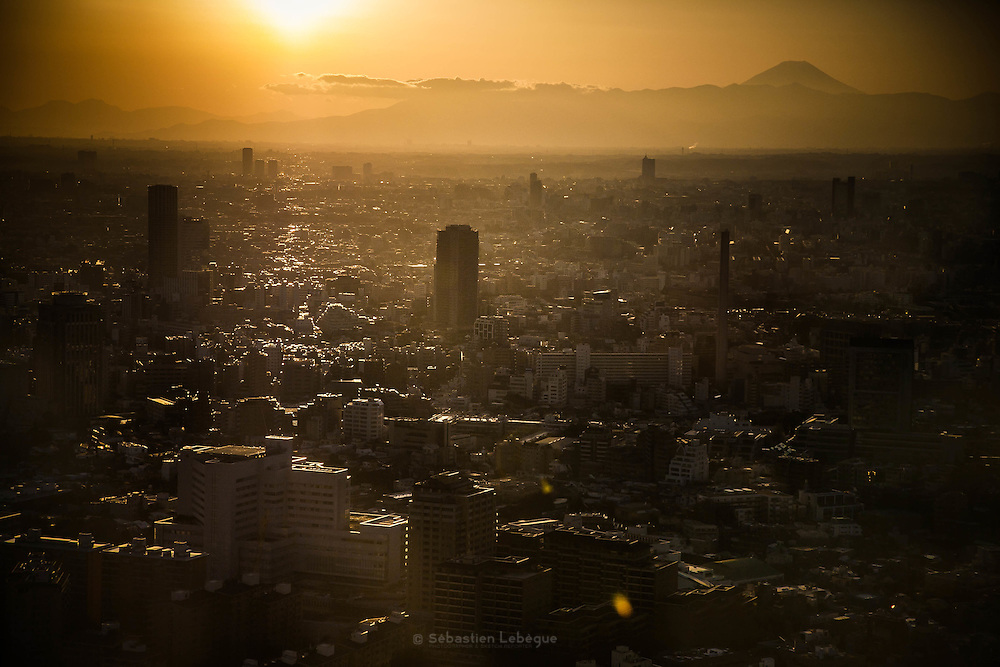 TOKYO, JAPAN - View of the Fuji-san and reflexion of the sunset light on roof of the bulding of Tokyo. January 2011  [FR] Le mont Fuji et les toit de Tokyo vus depuis la mairie de Shinjuku