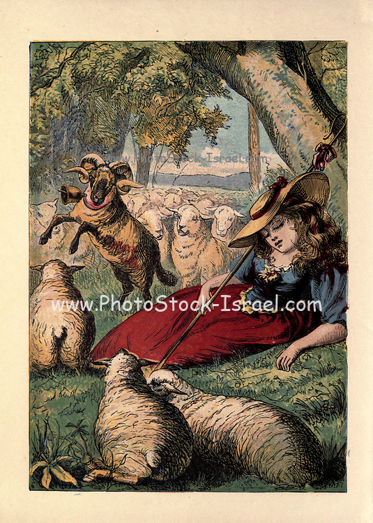 Little Bo-Peep has lost her sheep, / and doesn't know where to find them; / leave them alone, And they'll come home, / wagging (bringing) their tails behind them. //  Little Bo-Peep fell fast asleep, / and dreamt she heard them bleating; / but when she awoke, she found it a joke, /for they were still a-fleeting. Published by George Routledge and Sons in London ; New York in 1865