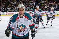 KELOWNA, CANADA - FEBRUARY 10: Reid Gardiner #23 of the Kelowna Rockets skates to the bench to celebrate a goal against the Vancouver Giants on February 10, 2017 at Prospera Place in Kelowna, British Columbia, Canada.  (Photo by Marissa Baecker/Shoot the Breeze)  *** Local Caption ***
