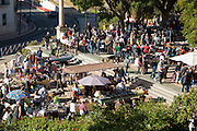High angle view of people at street market, Jerez de la Frontera, Spain