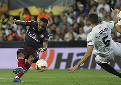 May 9, 2019 - Valencia, Valencia, Spain - Lacazette of Arsenal scoring a goal during UEFA Europa League football match, between Valencia and Arsenal, May 09th, in Mestalla stadium in Valencia, Spain. (Credit Image: © AFP7 via ZUMA Wire)