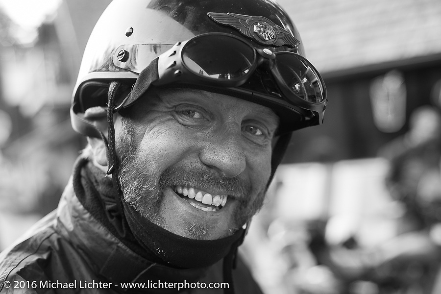 """Robert Gustavsson or """"Big Swede"""" as he is fondly known during Stage 16 (142 miles) of the Motorcycle Cannonball Cross-Country Endurance Run, which on this day ran from Yakima to Tacoma, WA, USA. Sunday, September 21, 2014.  Photography ©2014 Michael Lichter."""
