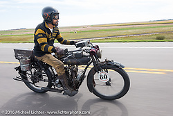 Shinya Kimura riding his Team-80 1915 Indian twin during the Motorcycle Cannonball Race of the Century. Stage-8 from Wichita, KS to Dodge City, KS. USA. Saturday September 17, 2016. Photography ©2016 Michael Lichter.