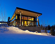 The Elk Camp Gondola Building atop Snowmass Mountain, in Snowmass, Colorado, photographed for the lighting designer LS Lighting Group.