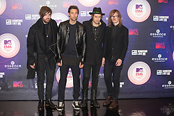 Casper Starreveld, Eloi Youssef, Niles Vandenberg and Jan Haker of the band Kensington. Red carpets arrivals at the MTV EMA's 2014 at The Hydro on November 9, 2014 in Glasgow, Scotland.